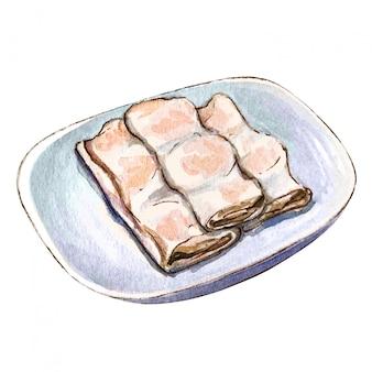 Dim sum van het waterverf het aziatische voedsel, de noedelbroodje van de garnalenrijst.