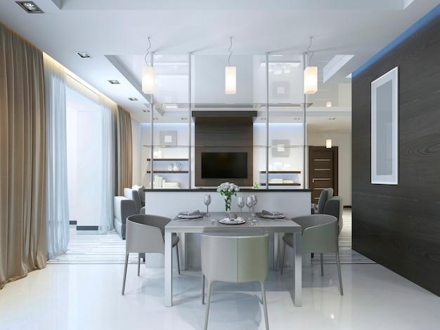 Dineren in een studio appartement met eettafel en stoelen voor drie personen. eettafel geserveerd in een eigentijdse stijl. 3d render.