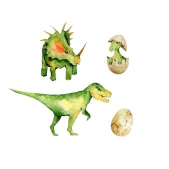 Dinosaur aquarel illustratie set herbivore en roofzuchtige reptielen uit de prehistorie geïsoleerd op wit