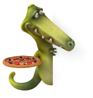 Dinosaur met pizza - 3d karakter
