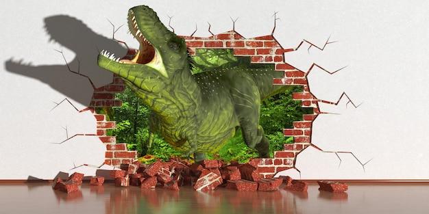 Dinosaurus die uit een fout in de muur, 3d illustratie kruipt