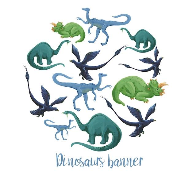 Dinosaurussen cirkel banner geïsoleerd op wit. sjabloon voor spandoek van schattige handgetekende acryl dinosaurussen.