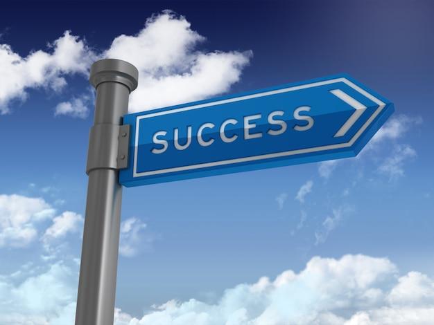 Directionele teken met succes woord op blauwe hemel