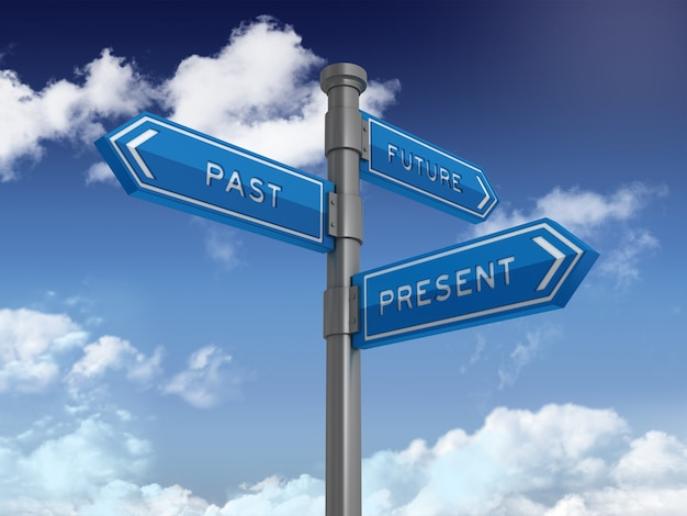 Directionele teken met toekomstige verleden aanwezige woorden op blauwe hemel
