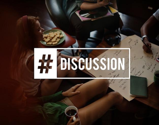 Discussie concept met vrienden praten
