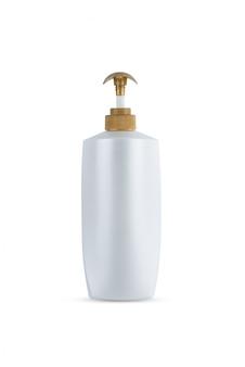 Dispenser hoofdpomp goudkleurig, witte fles plastic fles cosmetische hygiëne shampoo, conditioner met lichaam hydraterende geïsoleerd