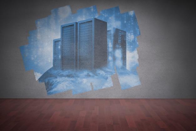 Display op de muur met servertorens