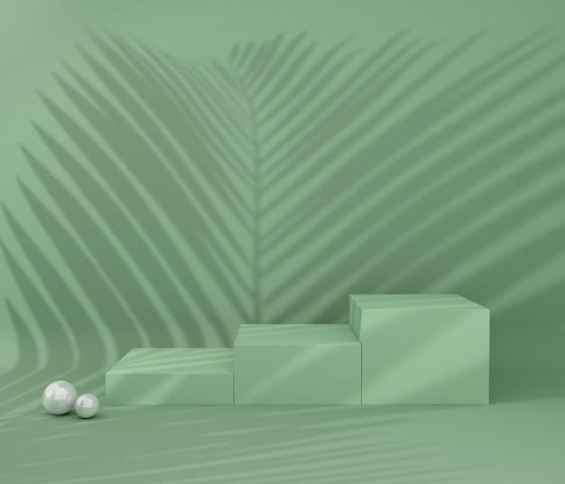 Display podium voor productpresentatie, tropische boomschaduw