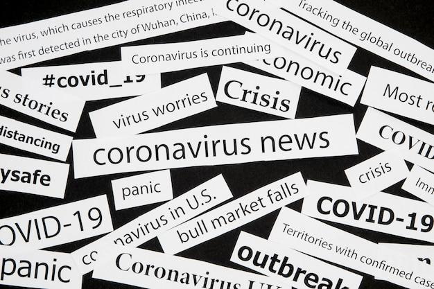 Diverse coronavirus titels van krantenkoppen