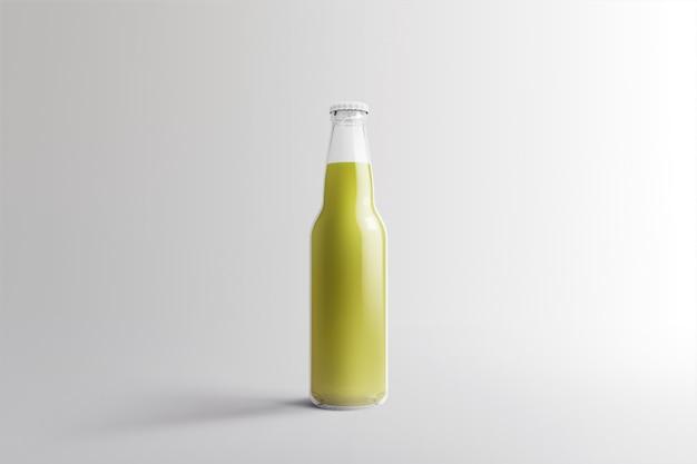 Diverse fruit soda fles, non-alcoholische drank met waterdruppels geïsoleerd op een witte achtergrond. 3d-rendering, geschikt voor uw ontwerpproject.