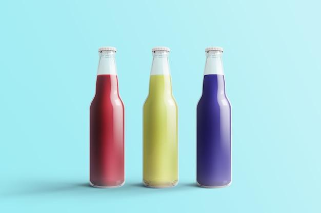 Diverse fruit soda flessen, non-alcoholische drank met waterdruppels geïsoleerd op toscha achtergrond. 3d-rendering, geschikt voor uw ontwerpproject.
