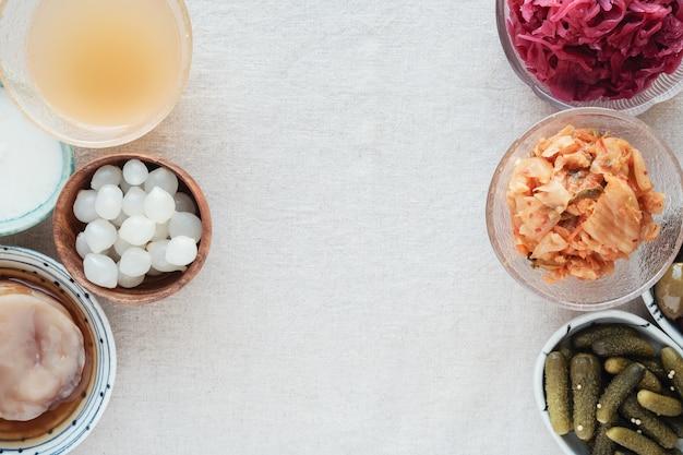 Diverse gefermenteerde probiotische voedingsmiddelen voor de gezondheid van de darm