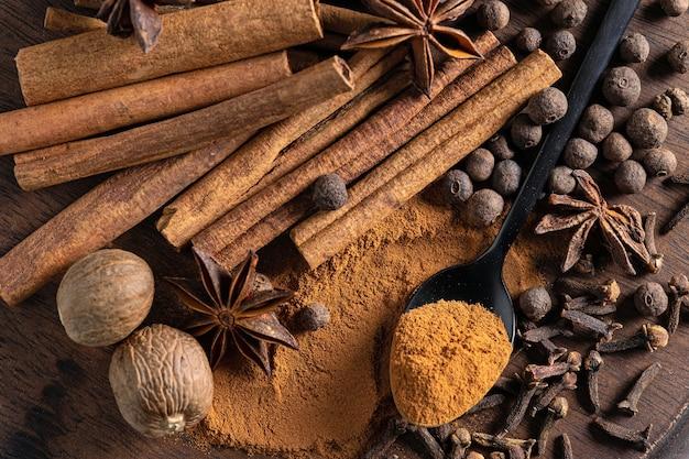 Diverse kruiden op een houten bord, bovenaanzicht