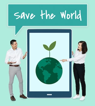 Diverse mensen die de wereld willen redden
