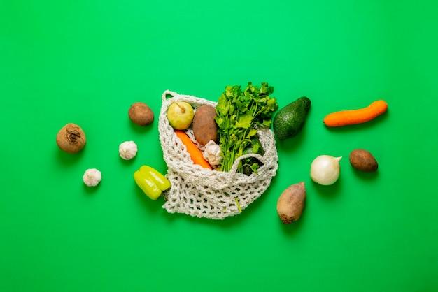 Diverse plat lag kruidenier groenten, verse rauwe producten