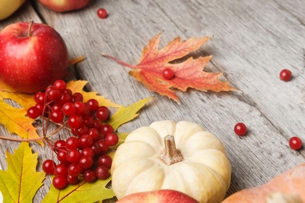 Diverse pompoenen, lijsterbes, appels en herfstbladeren op verweerd rustiek hout