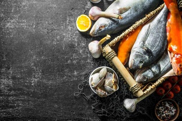 Diverse rauwe vis met oesters en knoflook. op donkere rustieke achtergrond