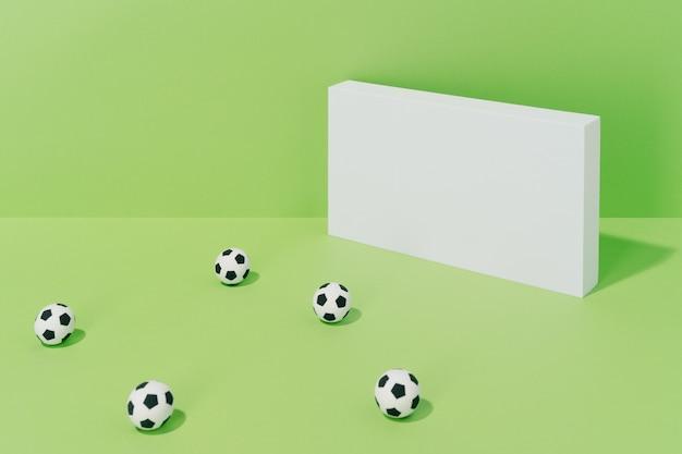 Diverse voetballen op doel op een groene achtergrond. concept van voetbal en sport.