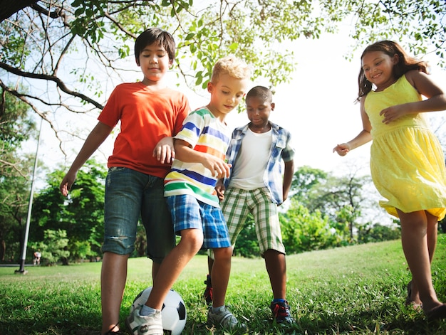 Diverse vrienden die in het park spelen