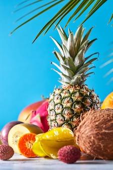 Diverse vruchten exotisch palmblad op een grijze houten tafel