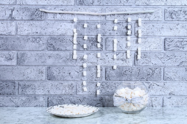 Diy marshmallow garland.