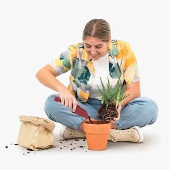 Diy verpotten van plantenliefhebber hobby