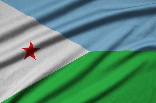 Djibouti vlag met veel plooien.