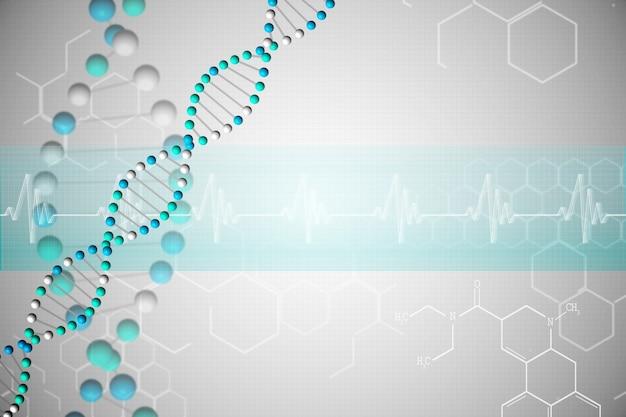 Dna-helix in blauw met chemische structuren