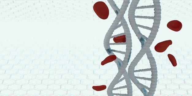 Dna-helix levensstructuur en rode bloedcellen 3d illustratie