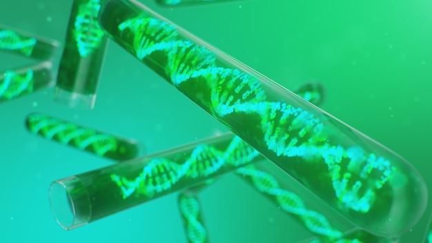 Dna-molecuul, zijn structuur. concept menselijk genoom. dna-molecuul met gemodificeerde genen. conceptuele illustratie van een dna-molecuul in een glazen reageerbuis met vloeistof. medische apparatuur, 3d illustratie