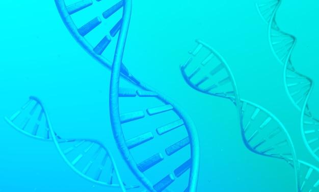 Dna-spiralen op een groene en blauwe achtergrond. 3d render.