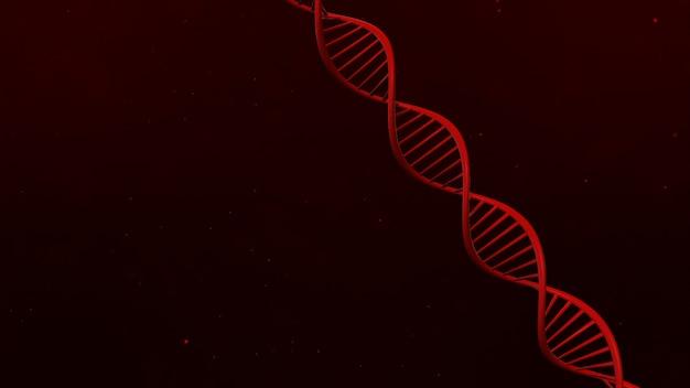 Dna-structuur op abstracte rode 3d illustratie als achtergrond