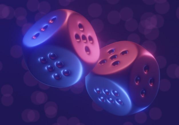Dobbelstenen gokspel. conceptuele kleurrijke 3d geeft terug.