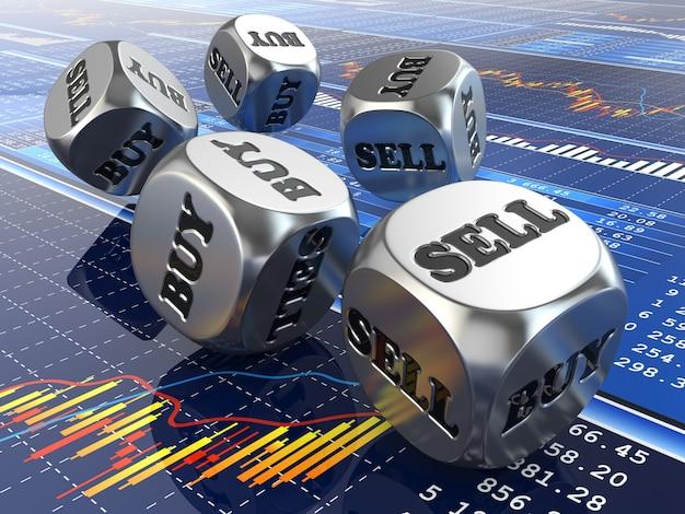 Dobbelstenen met woorden kopen en verkopen op financiële grafiek 3d