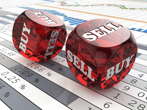 Dobbelstenen met wors verkopen en kopen op financiële grafiek 3d