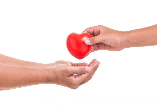 Dochter die en rood hart houdt geeft aan haar moederhand die op wit wordt geïsoleerd