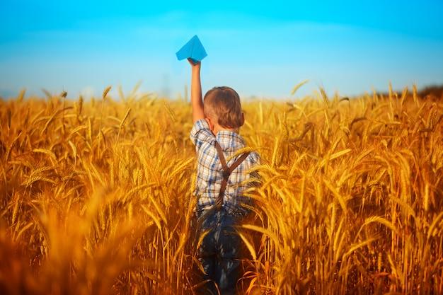 Document blauw vliegtuig in kinderenhanden op geel tarwegebied en blauwe hemel in de zomerdag