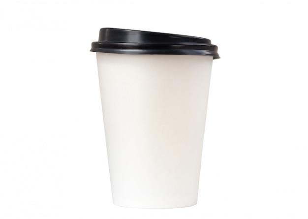 Document koffiekop op witte baground wordt geïsoleerd die
