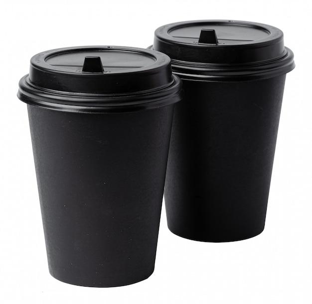 Document koffiekoppen die op witte achtergrond worden geïsoleerd