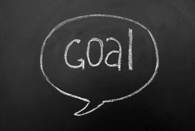 Doel succesvol bereiken op blackboardbord. geest of dialoog zeepbel met handschrift inscriptie.