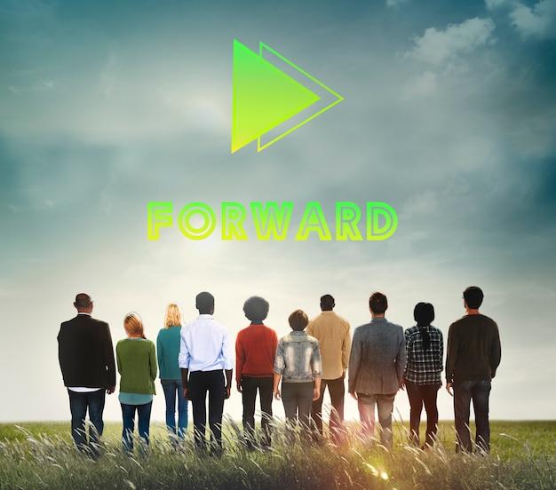 Doelen streven vooruit positiviteitssucces missie concept