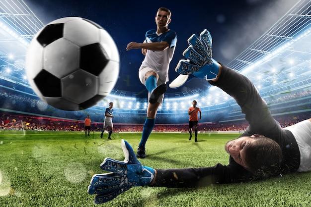 Doelman trapt de bal in het stadion tijdens een voetbalwedstrijd