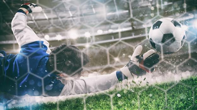 Doelman vangt de bal in het stadion tijdens een voetbalwedstrijd