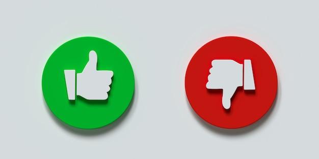 Doen en niet symbolen duim omhoog en duim omlaag cirkel emblemen 3d illustratie
