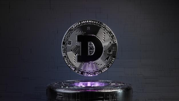 Dogecoin in een futuristische toekomstige kamer met neonverlichting. cryptocurrency-concept. 3d illustratie