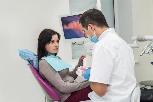 Dokter die patiënt laat zien hoe schone tanden op kaakmonster