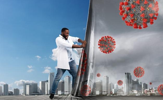 Dokter verandert de achtergrond van de stad. covid-19 is verslagen en de gezonde lucht wordt weer blauw