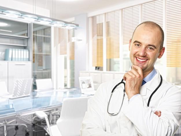 Dokterportret en fijn 3d beeld van modern bureau
