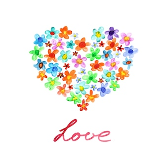 Dol zijn op. hartsymbool van aquarel bloemen. kaart voor st. valentijnsdag. rasterillustratie