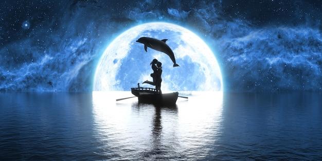 Dolfijn die over een boot springt met het kussen van mensen op de achtergrond van de maan, 3d illustratie